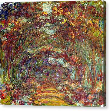 The Rose Path Giverny Canvas Print by Claude Monet