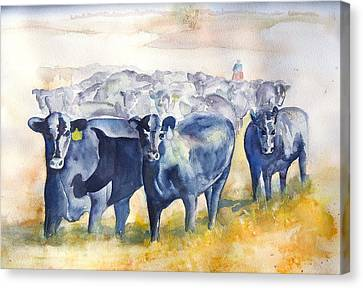 The Round Up Cattle Drive  Canvas Print by Sharon Mick