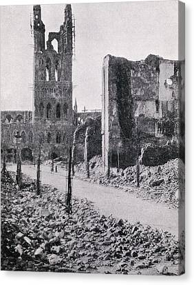 The Ruined Tower Of The Cloth Hall At Canvas Print by Vintage Design Pics