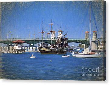 The Saint Augustine Harbor In Pastels Canvas Print by C W Hooper