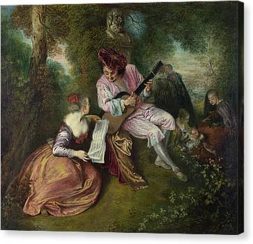 The Scale Of Love Canvas Print by Jean-Antoine Watteau