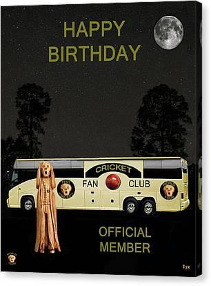The Scream World Tour Cricket  Tour Bus Happy Birthday Canvas Print by Eric Kempson
