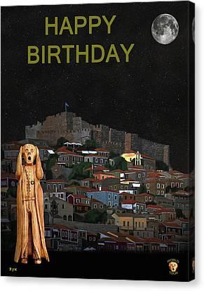 The Scream World Tour Molyvos Lesvos Greece Happy Birthday Canvas Print by Eric Kempson
