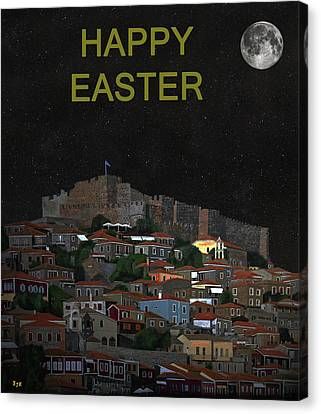 The Scream World Tour Molyvos Moonlight Happy Easter Canvas Print by Eric Kempson
