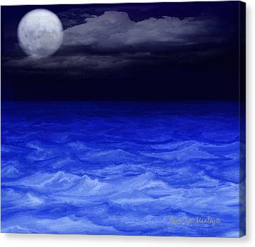 The Sea At Night Canvas Print by Gina Lee Manley