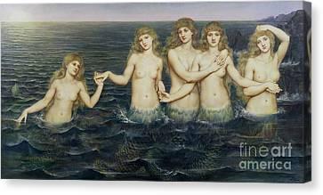 The Sea Maidens Canvas Print by Evelyn De Morgan