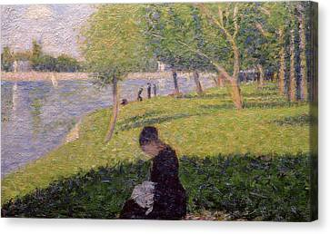 The Seamstress Or Sunday At The Grande Jatte Canvas Print by Georges Pierre Seurat