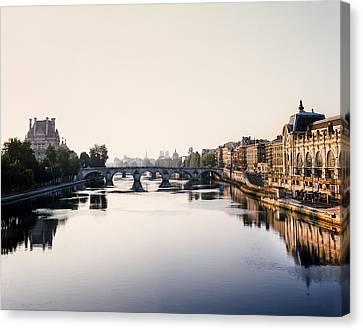 The Seine Paris Waterway Canvas Print by Vicky Ceelen