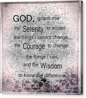 The Serenity Prayer Canvas Print by Beverly Guilliams