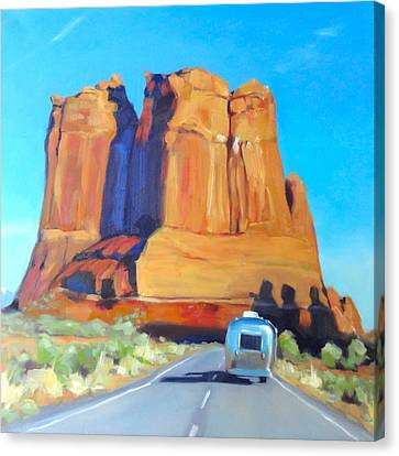 The Shadow Of The Three Gossips Arches Utah Canvas Print by Elizabeth Jose