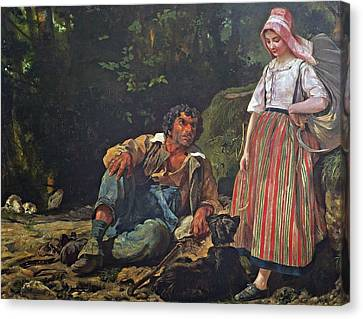 The Shepherd And The Shepherdess Canvas Print by Louis
