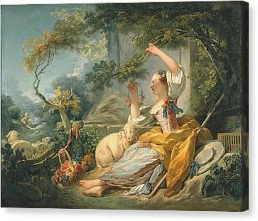 The Shepherdess Canvas Print by Honore Fragonard