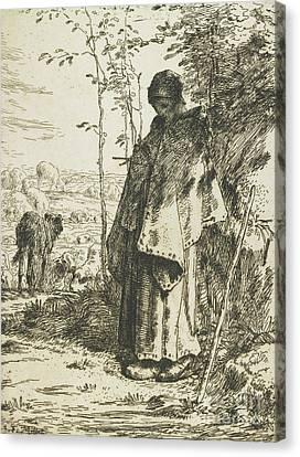 The Shepherdess Knitting, 1862 Canvas Print by Jean-Francois Millet