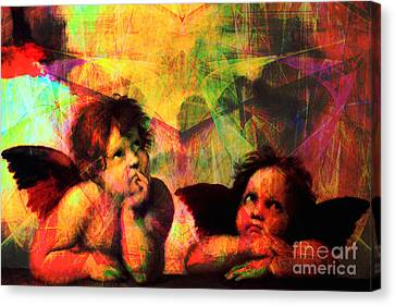 The Sistine Modonna Baby Angels In Abstract Space 20150622 Canvas Print by Wingsdomain Art and Photography