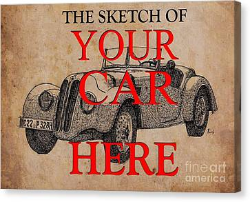 The Sketch Of Your Own Car, Ink On Vintage Background Canvas Print by Pablo Franchi