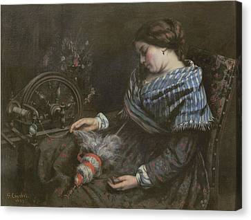 The Sleeping Embroiderer Canvas Print by Gustave Courbet