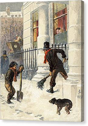 The Snow Sweepers Canvas Print by English School
