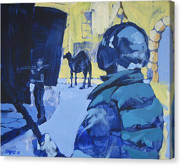 the Sound Man and the Camel Canvas Print by Amy Bernays