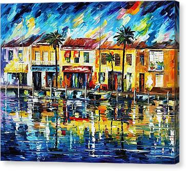 The Spirit Of Miami - Palette Knife Oil Painting On Canvas By Leonid Afremov Canvas Print by Leonid Afremov