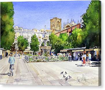 The Square In Summer Canvas Print by Margaret Merry