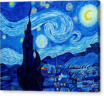 The Starry Night - Tribute To Van Gogh Canvas Print by Art by Danielle