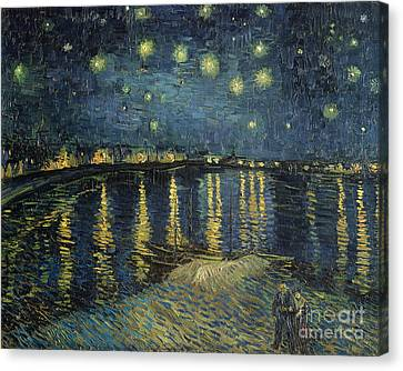 Star Canvas Print featuring the painting The Starry Night by Vincent Van Gogh