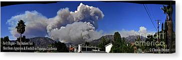 The Station Fire Panoramic Canvas Print by Clayton Bruster