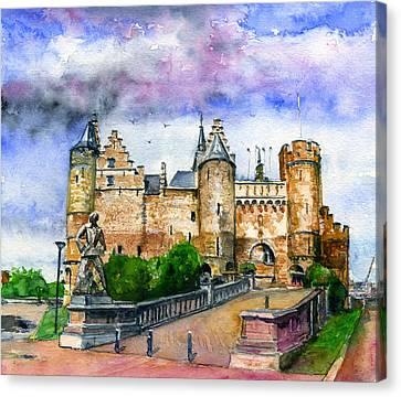 The Steen Castle Antwerp Belgium Canvas Print by John D Benson