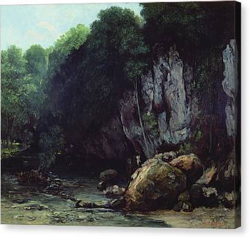 The Stream From The Black Cavern Canvas Print by Gustave Courbet