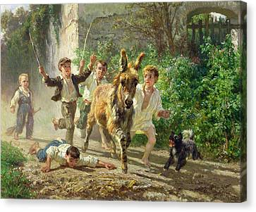 The Street Urchins Canvas Print by F Palizzi