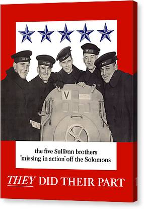 The Sullivan Brothers - They Did Their Part Canvas Print by War Is Hell Store