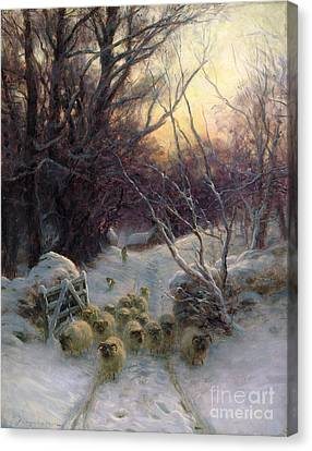 The Sun Had Closed The Winter Day Canvas Print by Joseph Farquharson
