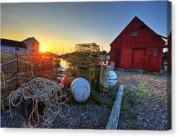 The Sun Rising By Motif 1 In Rockport Ma Bearskin Neck Lobster Traps Canvas Print by Toby McGuire