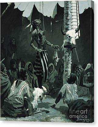 The Sundance Canvas Print by Frederic Remington