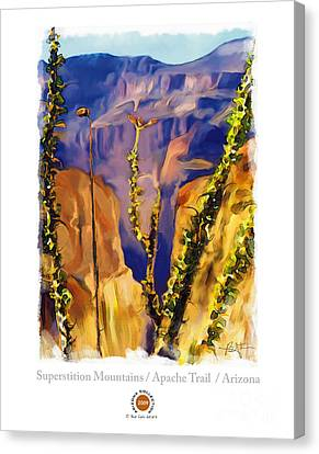 The Superstition Mtns. Az Canvas Print by Bob Salo