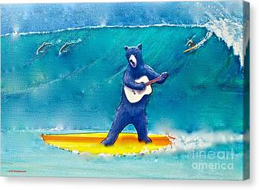 The Surfing Bear Canvas Print by Jerome Stumphauzer