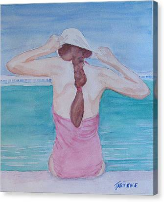 The Swim Cap Canvas Print by Jenny Armitage