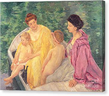 The Swim Or Two Mothers And Their Children On A Boat Canvas Print by Mary Stevenson Cassatt