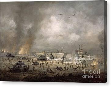 The Tanks Go In - Sword Beach  Canvas Print by Richard Willis