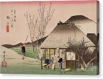 The Teahouse At Mariko Canvas Print by Hiroshige