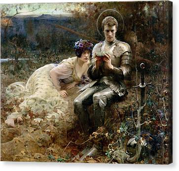 The Temptation Of Sir Percival Canvas Print by Arthur Hacker