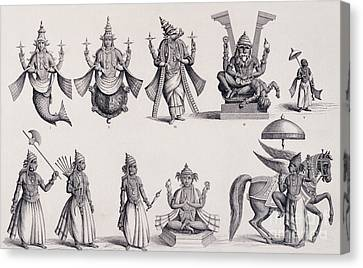 The Ten Avatars Or Incarnations Of Vishnu Canvas Print by English School
