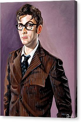 The Tenth Doctor And His Tardis Canvas Print by Emily Jones