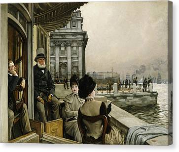 The Terrace Of The Trafalgar Tavern Greenwich Canvas Print by James Jacques Joseph Tissot
