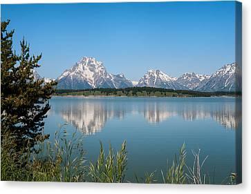 The Tetons On Jackson Lake - Grand Teton National Park Wyoming Canvas Print by Brian Harig
