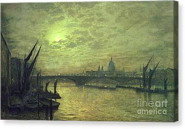 John Atkinson Grimshaw Canvas Print featuring the painting The Thames By Moonlight With Southwark Bridge by John Atkinson Grimshaw