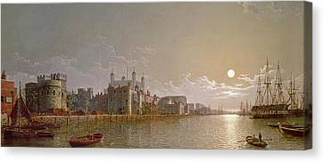 The Thames By Moonlight With Traitors' Gate And The Tower Of London Canvas Print by Henry Pether