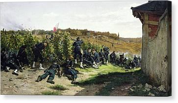 The Tirailleurs De La Seine At The Battle Of Rueil Malmaison Canvas Print by Etienne Prosper Berne-Bellecour