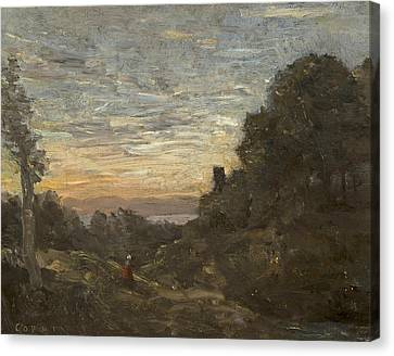 The Tower In The Trees Canvas Print by Jean-Baptiste-Camille Corot