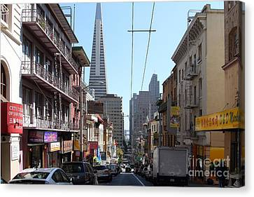 The Transamerica Pyramid Through Chinatown San Francisco Canvas Print by Wingsdomain Art and Photography